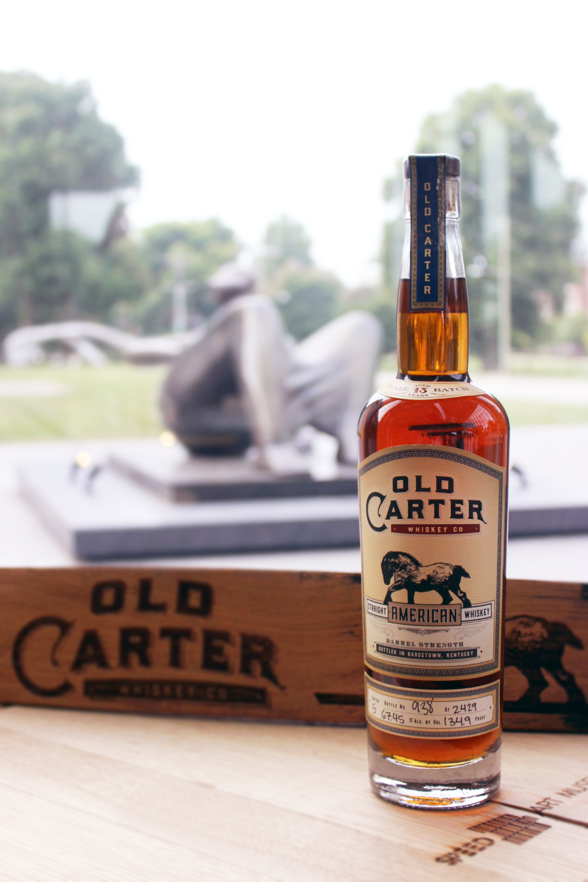 Old Carter Whiskey Co. Straight American Whiskey Small Batch #5 & Laser Engraved Whiskey Barrel Stave